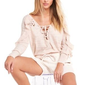 Wildfox pink distressed ruffle lace up sweater top